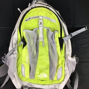 Lime green north face backpack